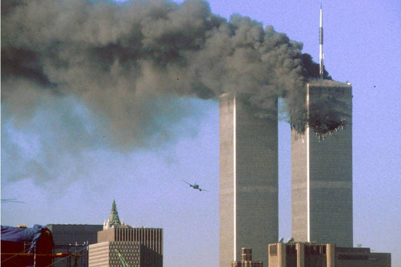 The World Trade Center under attack on 9-11-01