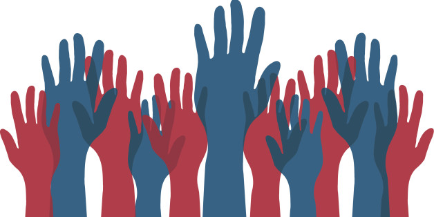 Red and Blue Voting Hands
